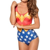New Sexy Wonder Woman Bikini Swimwear Bathing Suits Women One Piece Swimsuit