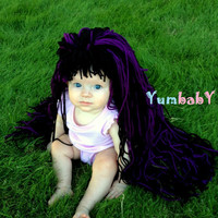 Baby Hat- Witch Wig- Ready to Ship- Girl Wig- Halloween Costume Girls- Witch Costume- Black Purple- Baby Costume-  Girl Photo Prop