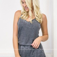 Distressed Pocket Romper | Charcoal