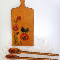 Rare 70s Vintage Wooden Decorative Cutting Board & 2 spoons Country Wall Decor Kitchen Decor Hand painted Hand carved Lowicz Polish folk art