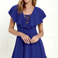 Tenderly Tangled Royal Blue Lace-Up Dress