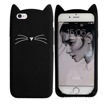 3D Cute Cat Beard Silicone Case for iPhone 7 Plus Adorable Animal iPhone 5S SE 5 6S 6 Back Phone Cover Lovely Soft Mobile Shell