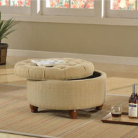 Traditional Storage Ottoman Button-Tufted Living Room Furniture Cream Finish New