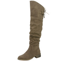 Womens Knee High Boots Back Lace Up Over The Knee Riding Shoes Taupe SZ