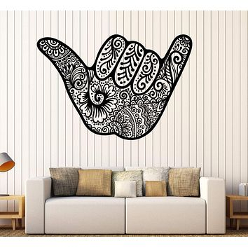 Decal Vinyl Wall Shaka Hang Loose for Surfer Hawaii Sign Stickers Unique Gift (ig3577)
