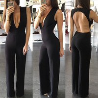 V-neck Sleeveless Backless Straight Long Brief Jumpsuits