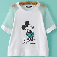 Sequined Cartoon Character Print Sheer Mesh Sleeve White Shirt