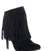 Wild West Fringe Booties - Black