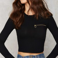 After Party Vintage Holy Zip Ribbed Sweater