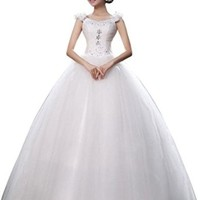jeansian Women's Gown V-neck Lace Crystal Wedding Dresses Shirt Tops WVA007