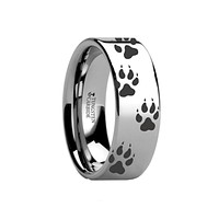 Laser Engraved Wolf Track Print Animal Design Flat Tungsten Couple Matching Ring - 4MM - 12MM