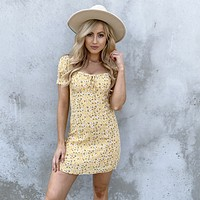 Morning Blossom Yellow Floral Dress