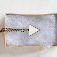 Tiny Triangle Necklace in Creamy Pink