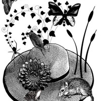 animals butterfly original art print flower straw hat mouse frog bird spider