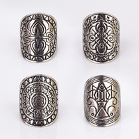 4pcs/lot Vintage Bohemia Nationality Carving Tibetan Silver Plated Ring For Women Fine Jewelry Boho Beach Jewelry