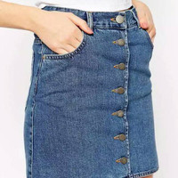 Blue Bottons Up Denim Mini Skirt
