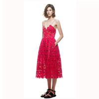 Red Lace Strap Long Dress