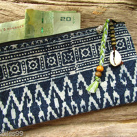Hilltribe Indigo Blue Cotton Ethnic Coin Purse Wallet Hippie Ibiza Shell Buddha