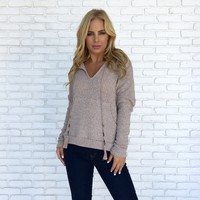Campfire Knit Hoodie in Taupe