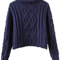 Navy Blue Mock Neck Knitted Cropped Sweater