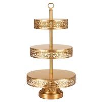 3-Tier Vintage Reversible Dessert Cupcake Stand (Gold)