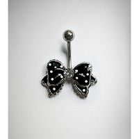 14 G Black and White Polkadots Cz Bow Belly Ring - Spencer's