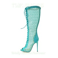 """Malace Teal Blue Lace Panel Open Toe 4.75""""  High Heel Knee Boots 6-10"""