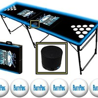 8-Foot Professional Beer Pong Table w/ Bluetooth Speaker, Holes & Glow Lights - Party Pong Logo