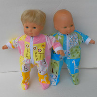 "American Girl Bitty Baby TWINS Pajamas Clothes 15"" Doll Clothes  boy & girl Pink Yellow Blue Green Giraffe Print Flannel Zip Feetie Sleeper"