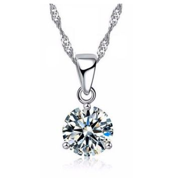 Crystal Solitaire Round Cut Necklace Pendant For Woman