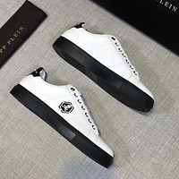 Philipp Plein new men's metal skull versatile breathable casual shoes white