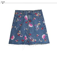 Fashion Casual Flowers Denim High Waisted A-line Ladies Embroidered Skirts For Women