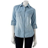 SO Chambray Button-Front Shirt
