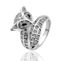 Crystal Bar Cat 18K White Gold Plated Ring