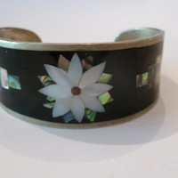 Vintage Alpaca Silver Flower Abalone and Black Onyx Mother of Pearl Inlay Cuff Bracelet Spring Summer Boho Jewelry