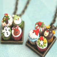 Christmas Cupcakes Necklace
