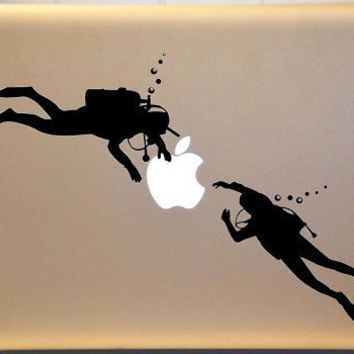 Scuba Diver Diving Vinyl Decal for Macbook  PC MAC Laptop | MakeItMineDesigns - Techcraft on ArtFire