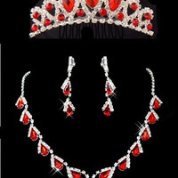 Crown tiara wedding bride jewelry red crystal 3 pcs/set necklace earrings crown hair red jewelry sets = 1929630084