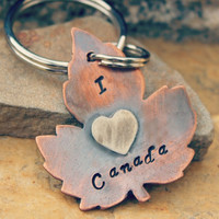 I Love Canada Maple Leaf Keychain Item 210