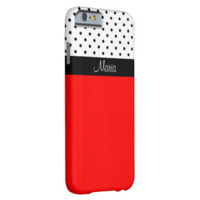Monogram Strawberry, Black White Dots Color Block Barely There iPhone 6 Case