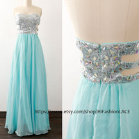 Sky Blue Long Prom Dress, Strapless Sequin Chiffon Prom Gown, Formal Gown, Long Chiffon Blue Formal Dresses, Wedding Party Dress
