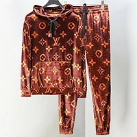 Louis Vuitton  LV Autumn And Winter Fashion New Monogram Print High Quality Women Men Hooded Long Sleeve Sweater Top And Pants Two Piece Suit