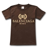 Balenciaga 2019 new street fashion loose round neck half sleeve T-shirt Coffee