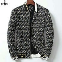 Fendi new men's full printed logo trend fashion wild cardigan jacket black