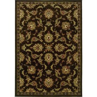 Oriental Weavers Traditional Brown Green Polypropylene Oriental Machine-Woven Area Rug