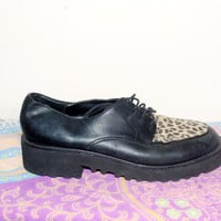 Vintage 1990s Sam and Libby Black Leather LEOPARD Lace up Combat Boot Lace up Loafer  OXFORDS Shoes size 9.5 M