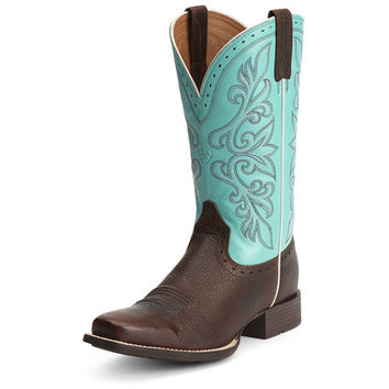 Ariat Women's Rundown Boot - Brown Oiled Rowdy/Solid Turquoise