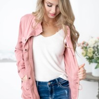 Brea Waist Tie Tencel Jacket | Blush