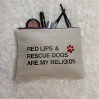 Canvas Makeup Bag - Makeup Organizer - Cosmetic Bag - Travel Cosmetic Bags- Tablet Case - Clutch - Dog Lover Bag - Red Lips & Rescue Dogs