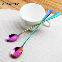 2Pcs/Lot Stainless Steel Rainbow Coffee Spoons Sharp Head And Round Head Kitchen Dining Bar Mixing Spoons Fruit Ice Spoon